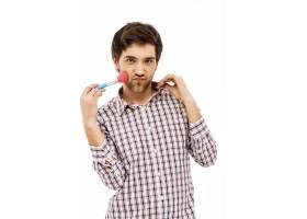 傻乎乎的女人味男人摸脸颊化妆刷_9227112