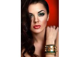 高级时尚造型美丽的高加索红唇年轻女子模_7253320
