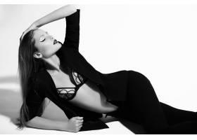 高级时尚造型穿着黑色衣服的美丽性感时尚_7252014