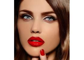 美丽性感时尚高加索红唇年轻女模魅力特写_6765651