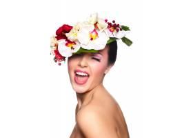 美丽性感微笑的黑发白人年轻女性模特的特写_7169939