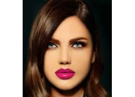 美丽性感时尚的高加索年轻女子肖像有着粉_6765687