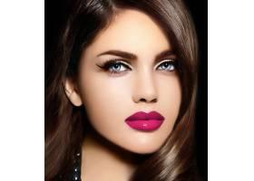 美丽性感时尚的高加索年轻女子肖像有着粉_6765695