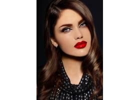 美丽性感时尚的高加索年轻女模的肖像嘴唇_6765698