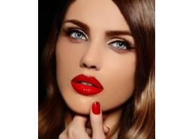美丽性感时尚高加索红唇年轻女模魅力特写_6765650