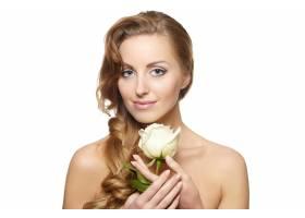 白底白玫瑰性感微笑美女肖像卷发妆容鲜_6523245