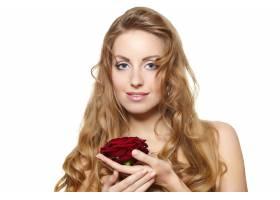 白底红玫瑰性感美女肖像_6523206