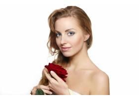 白底红玫瑰性感美女肖像_6523266