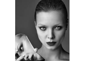 晚妆红唇白夹克漂亮时尚黑发女模肖像_7121692