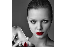 晚妆红唇白夹克漂亮时尚黑发女模肖像_7121693
