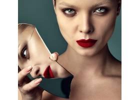 晚妆红唇白夹克漂亮时尚黑发女模肖像_7121695