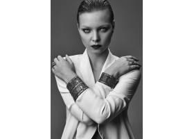 晚妆红唇白夹克漂亮时尚黑发女模肖像_7121697