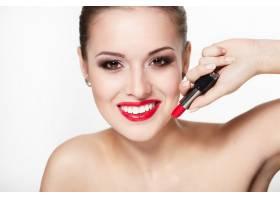 性感笑容可掬的高加索年轻女模特写红唇魅_7218629