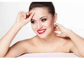 性感笑容可掬的高加索年轻女模特写红唇魅_7236790