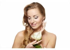 性感美女肖像白底红玫瑰长卷发妆容鲜_7251280