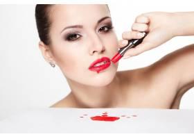 性感高加索年轻女模特写红唇魅惑妆容亮_7218618