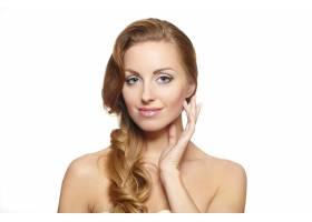 一位美女模特的肖像孤立在白色亮丽的妆容_6523237