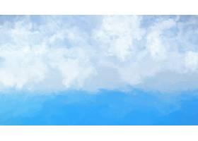 蓝海白云的水彩画抽象_91745101