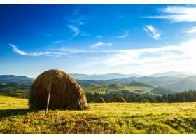 田野里的干草堆构成了美丽的风景_808558201