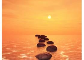 日落的天空映衬着海洋中的3D垫脚石_299997301