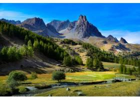 有树的落基山脉的美丽景色_965431401