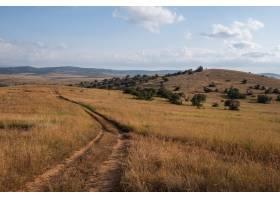 穿过肯尼亚蓝天下的田野的美丽道路_965422301