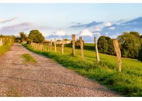穿过被树木包围的田野的美丽镜头_1275059401
