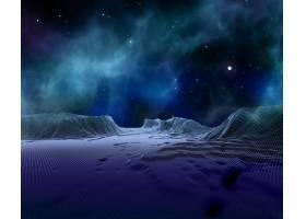 空间天空衬托下的3D抽象线框景观_673254501