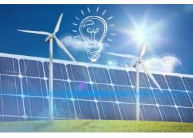 带太阳能电池板的灯泡_92654201