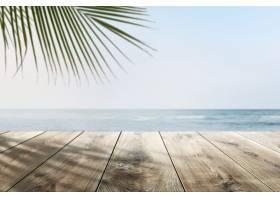 带木制柜台的沙滩产品背景_1219100101
