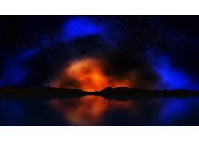 彩色夜空景观的3D渲染_111678401