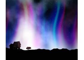在具有极光灯光的夜空的衬托下对带有房屋_111798801