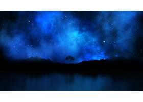 在夜空的衬托下对树木景观进行3D渲染_111798701