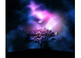 在有行星的太空天空的衬托下对长满草的小_229510801