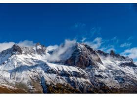 在蓝天的衬托下喜马拉雅山被白雪覆盖_1290964201