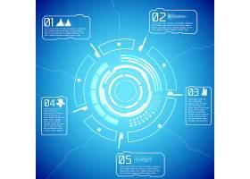 数字未来主义交互式信息图表在蓝色背景上_10464321