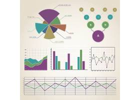 彩色复古信息图表集与各种形状和文本字段_10464005