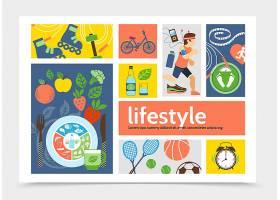 扁平健康生活方式信息图概念与跑步滚轴_11060559
