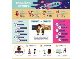 扁平儿童的爱好信息图概念_9512256