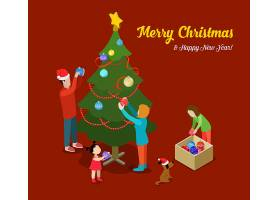 圣诞快乐新年快乐平面等距概念web信息图表_11786017