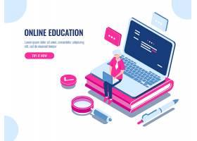 在线教育等距概念笔记本电脑在家学习的_4103151