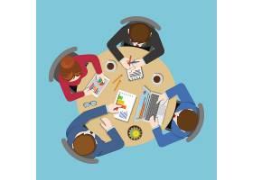 办公桌面俯视商务平面网信息图概念工作人_11467584