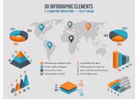 业务信息图表元素世界地图上的3D图表图_11059337