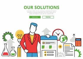 业务解决方案概念平面艺术图标_12417674