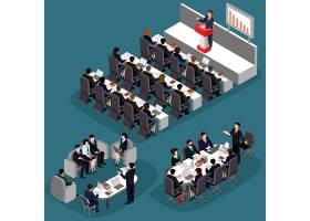 三维平面等轴测商务人士的矢量插图商业领_1215801