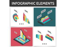 等距彩色正方形信息图概念配有3D商业图表_12937665