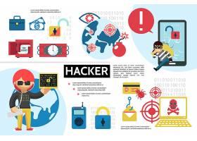 扁平黑客信息图概念与黑客安全炸药炸弹bug_12937620