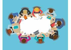 办公桌面俯视商务会议扁平化Web信息图概念_11552692