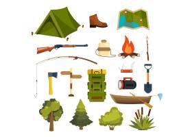 一组平面露营元素用于创建您自己的徽章_10700849