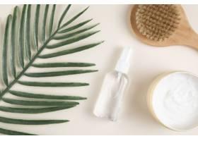树叶和身体护理产品的俯视图_5290598
